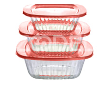 Baking Dish Set Of 3 Pcs - Glass - Rectangular - Patterned - Limon Brand