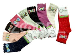 "Ankle Socks - Wavy Edge - With Bow Tie - Nappy Model - Polyester Viscose - Brand ""Sefid Barfi"""