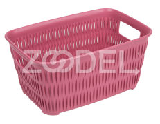 Plastic Basket For Kitchen - Rectangular - Limon Brand - Bamboo Design - Size 1
