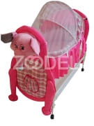 Baby Bed & Cradle - With Tetron & Taffeta Cover - Washable - Size 85*100*55 Cm - Model : Animals - Kousha Trading Company