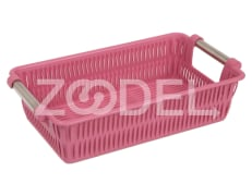 Plastic Basket For Kitchen - Rectangular - With Steel Handle - Limon Brand - Bamboo Design - Size 2