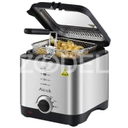 Aicok Fryer, Mini Deep Fryer, Electric Fryer Machine Temperature Control 1.5 Liter Lid with Viewing Window, Stainless Steel Basket