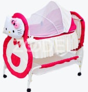 Baby Bed & Cradle - With Tetron & Taffeta Cover - Washable - Size 85*100*55 Cm - Model : Kitty - Kousha Trading Company