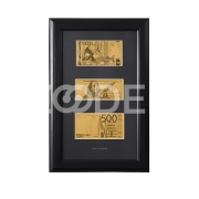 5 000 tenge, 100 US dollars, 500 euros banknotes in the frame