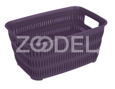 Plastic Basket For Kitchen - Rectangular - Limon Brand - Bamboo Design - Size 2