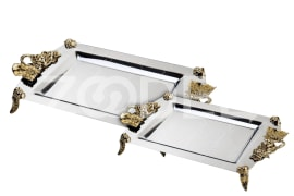 Steel Tray Model Rose - Rectangular, With Golden Color Handles, Code: S310 - L313 - Negar Steel Brand