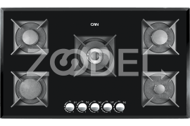 "Gas Cooker Hob - Built In Type, Glass Material, 5 Burner, With Thermocouple & Stainless Steel Cover, Black Color - Model: 527GC - ""Can"" Brand"