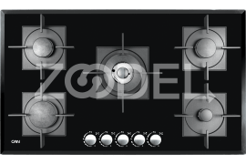 "Gas Cooker Hob - Built In Type, Glass Material, 5 Burner, With Thermocouple & Stainless Steel Cover, Black Color - Model: 527G - ""Can"" Brand"