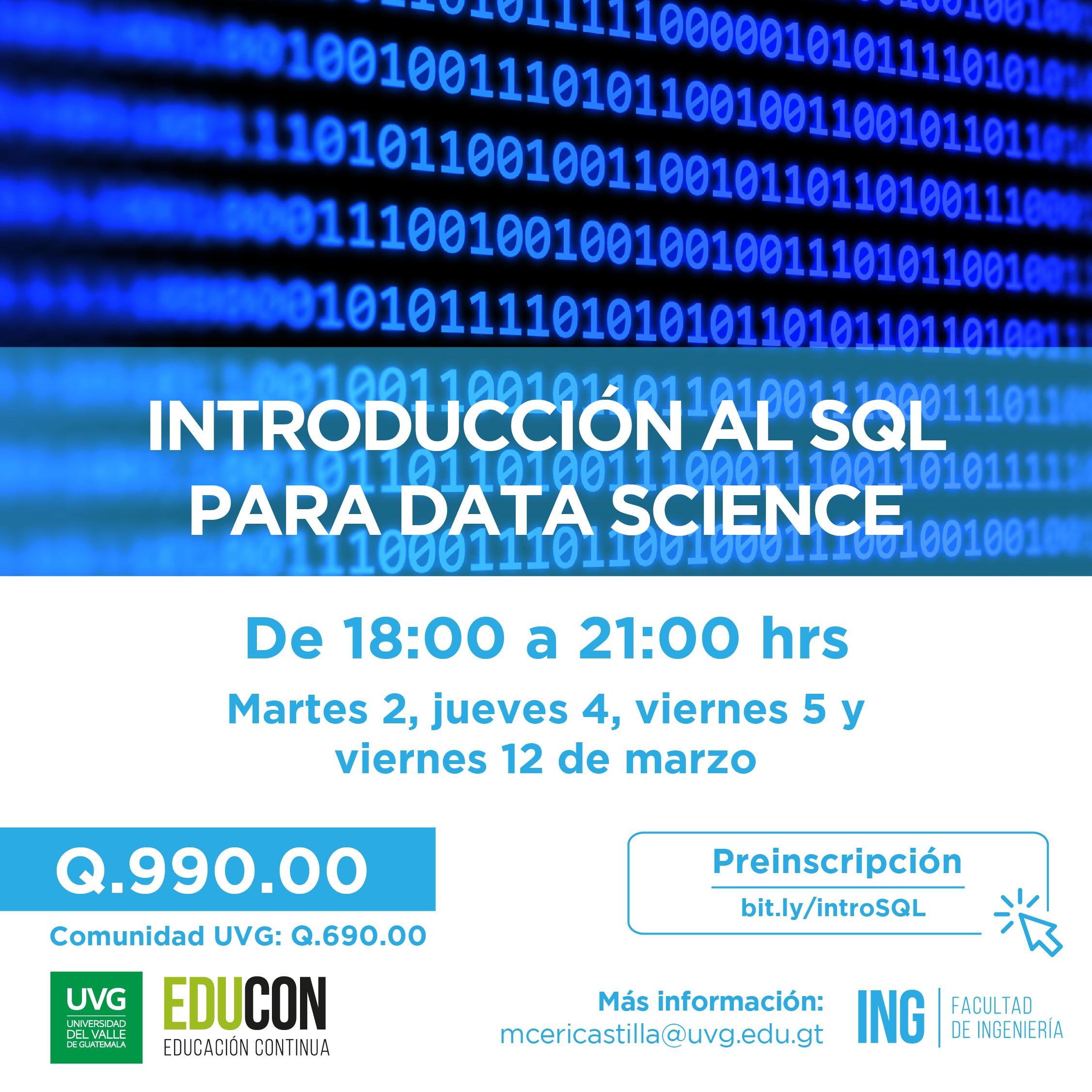 INTRODUCCIÓN AL SQL PARA DATA SCIENCE
