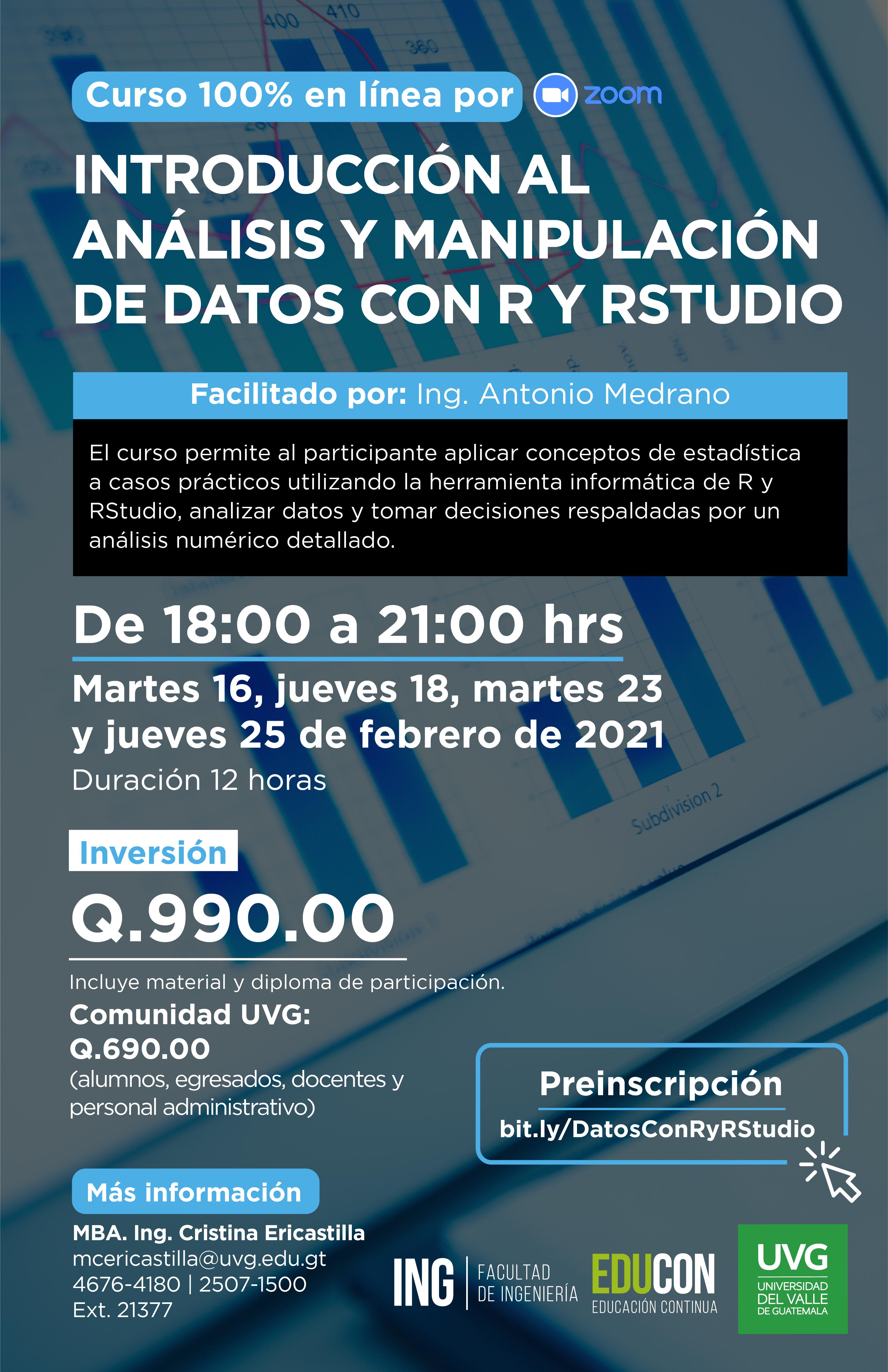 INTRODUCCIÓN AL ANÁLISIS Y MANIPULACIÓN DE DATOS CON R Y RSTUDIO