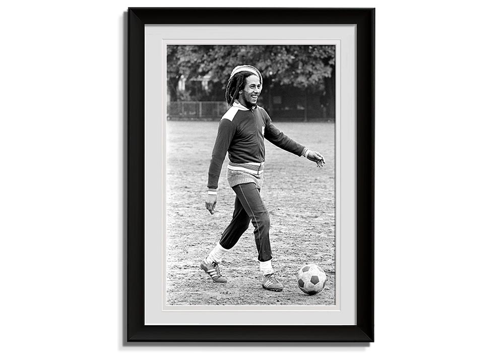 Bob Marley - Playing football  by Barry Plummer