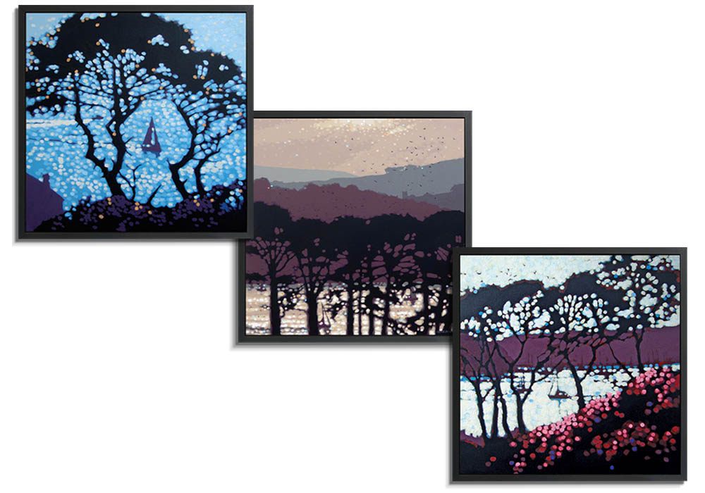 Through the pines framed canvases  by Gordon Hunt