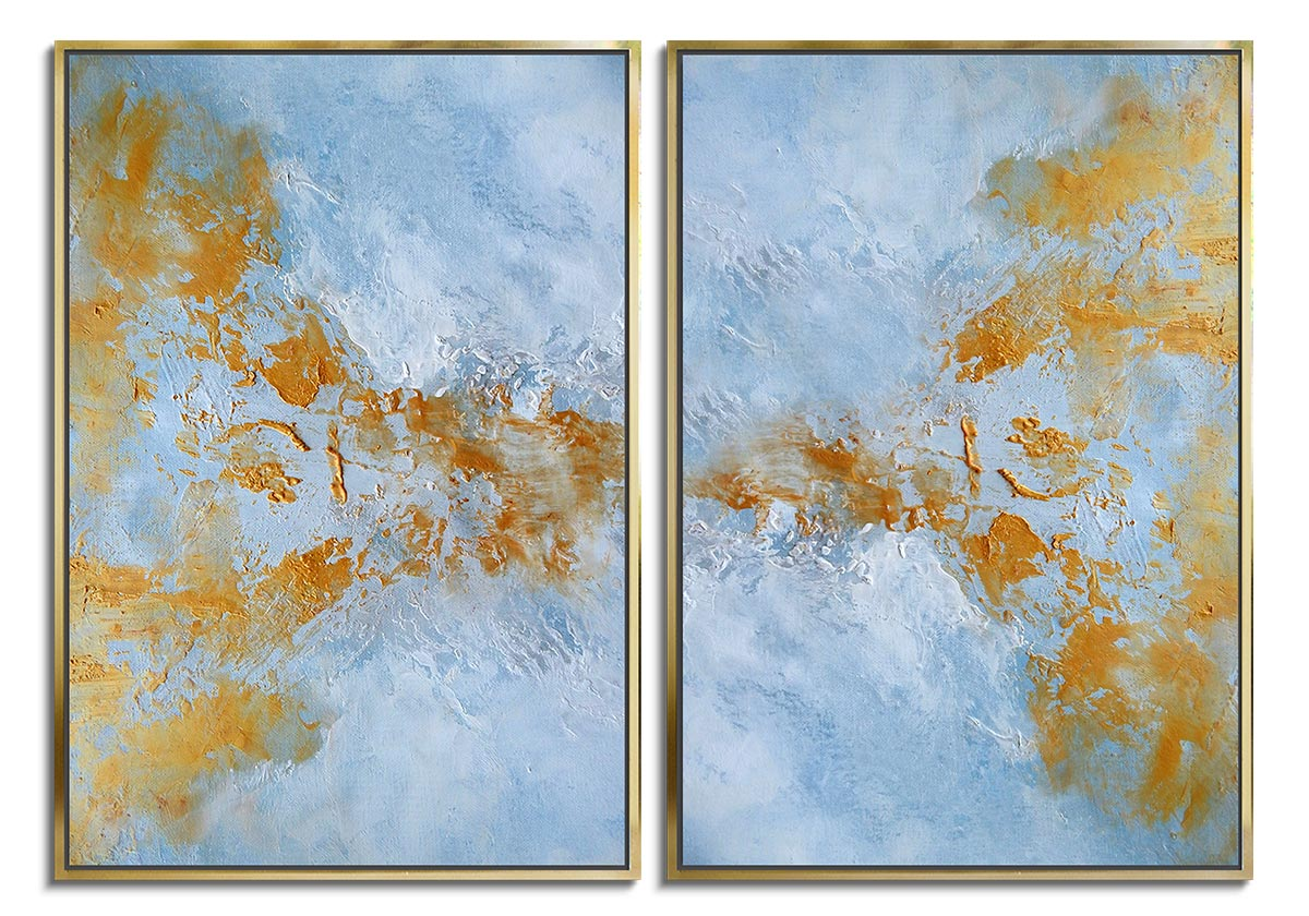 Gold Water - Diptych by Olena Topliss