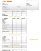 Worksheet costsheet