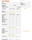 Worksheet costsheet