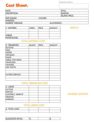 How to business planning worksheet cost sheet for How to design clothes for manufacturing