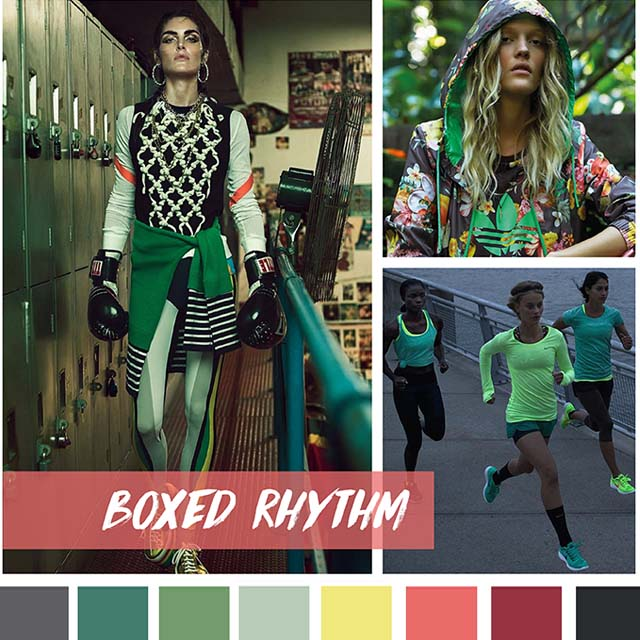 #DesignOptions FW18/19 color report on #WeConnectFashion, Contemporary Activewear Mood: Boxed Rhythm.