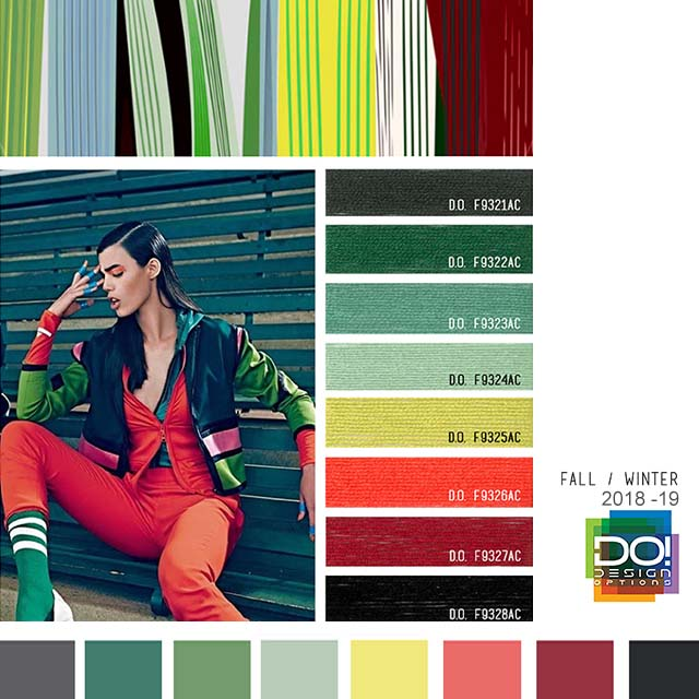 #DesignOptions FW18/19 color report on #WeConnectFashion, Contemporary Activewear Mood details: Boxed Rhythm, detail.