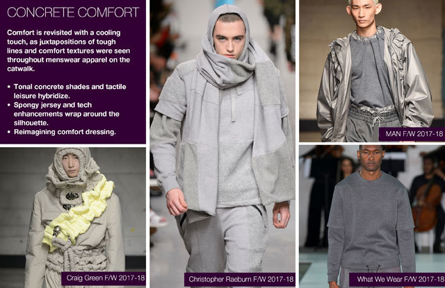 #Trendstop Runway F/W 2018 trends on #WeConnectFashion. Menswear Directions: Concrete Comfort details