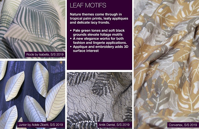 #Trendstop SS 2019 trends on #WeConnectFashion. Material Directions: Leaf Motifs