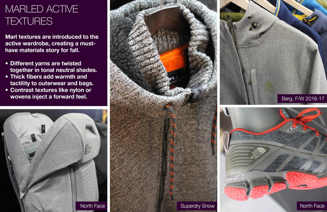 #Trendstop on #WeConnectFashion, Sportswear trends FW 16/17 ISPO Munich tradeshow: Marled Active Textures.