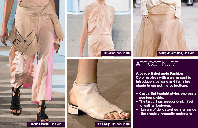Seen on #WeConnectFashion courtesy of #Trendstop, Runway SS 2016 color, Apricot Nude trend board