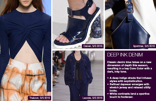 Seen on #WeConnectFashion courtesy of #Trendstop, Runway SS 2016 color, Deep Ink Denim trend board