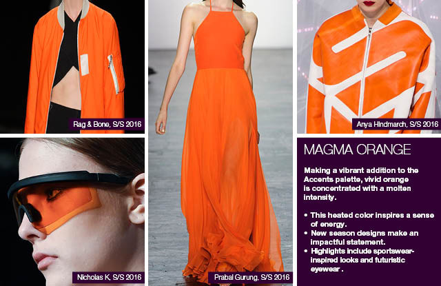 Seen on #WeConnectFashion courtesy of #Trendstop, Runway SS 2016 color, Magma Orange trend board