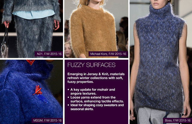 #Trendstop material #trends on #WeConnectFashion, Women's FW 16/17 direction: Fuzzy Surfaces
