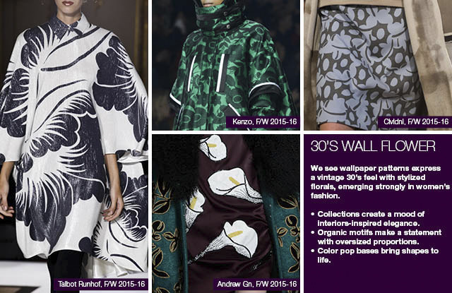 #Trendstop seen on #WeConnectFashion, Women's print direction FW 16/17 and mainstream FW 17/18: 30's Wall Flower