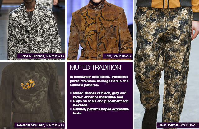#Trendstop seen on #WeConnectFashion, Menswear print direction FW 16/17 and mainstream FW 17/18: Muted Tradition