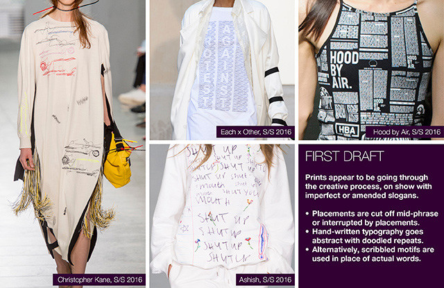 Seen of #WeConnectFashion courtesy of #Trendstop, Runway SS 2016 prints, First Draft trend board