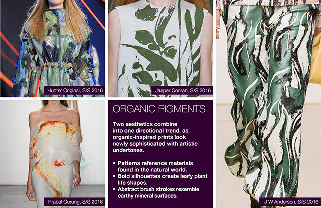 Seen of #WeConnectFashion courtesy of #Trendstop, Runway SS 2016 prints, Organic Pigment trend board