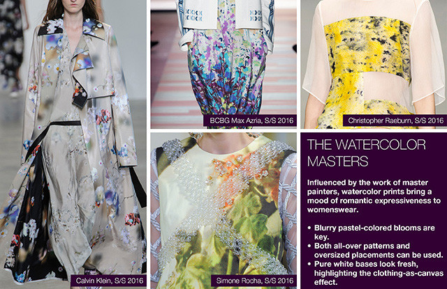 Seen of #WeConnectFashion courtesy of #Trendstop, Runway SS 2016 prints, The Watercolor Masters trend board