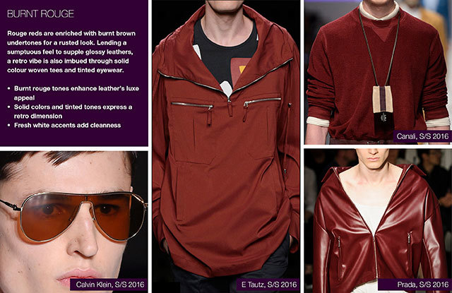 Trendstop SS17 Color on #WeConnectFashion: Menswear Earthy Spice Palette, pictured: Burnt Rouge