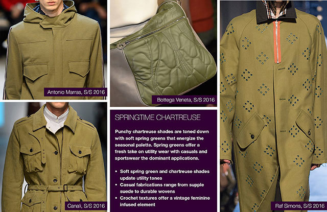 Trendstop SS17 Color on #WeConnectFashion: Menswear Earthy Spice Palette, pictured: Springtime Chartreuse