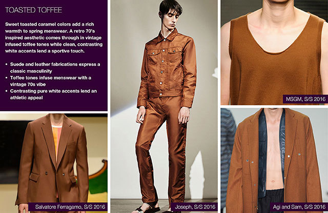 Trendstop SS17 Color on #WeConnectFashion: Menswear Earthy Spice Palette, pictured: Toasted Toffee