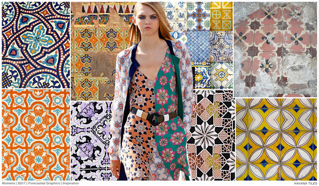 #FashionSnoops on #WeConnectFashion SS17 trend board. Women's prints and graphics, Havanna Tiles