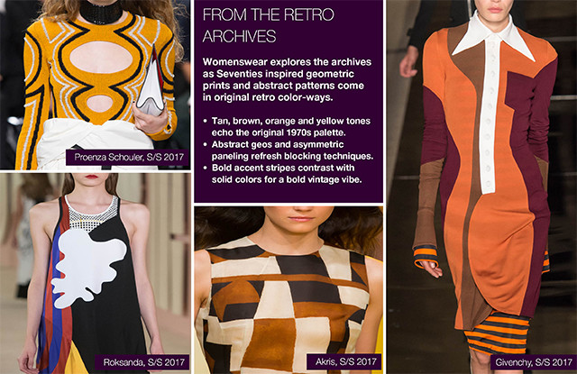 #Trendstop Top Runway Collections on #WeConnectFashion. Women's Print SS17: 70's Geos, from the Retro Archive