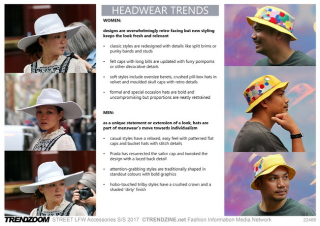 #Trendzine SS 2017 trends on #WeConnectFashion. STREET London Fashion Week: Headwear
