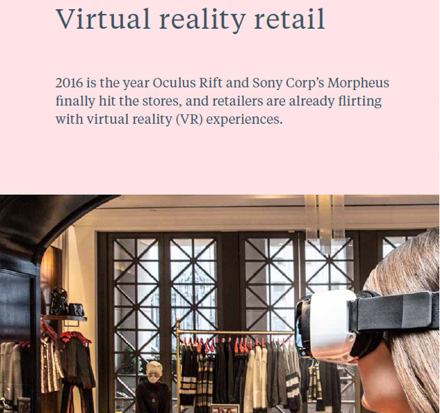 #JWT future 2016 #trend report on #WeConnectFashion, Virtual reality takes hold