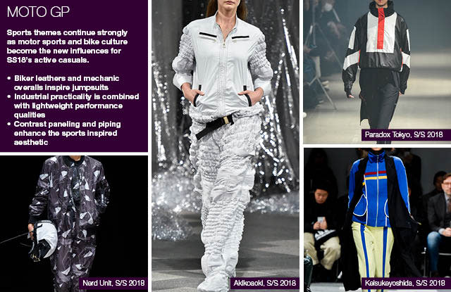 #Trendstop SS18 Tokyo Fashion Week trends on #WeConnectFashion. Items: Moto GP