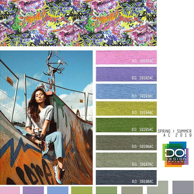 #DesignOptions SS19 Informe sobre el color de las mujeres en #WeConnectFashion, Tendencia de estilo de vida contemporáneo activo: Camo-Appeal, detalle.