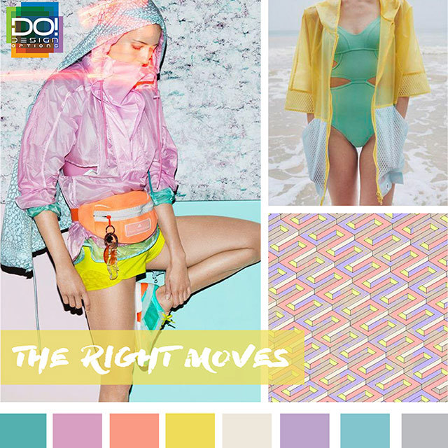 #DesignOptions SS18 color report on #WeConnectFashion, Contemporary Women's activewear mood: The Right Moves.