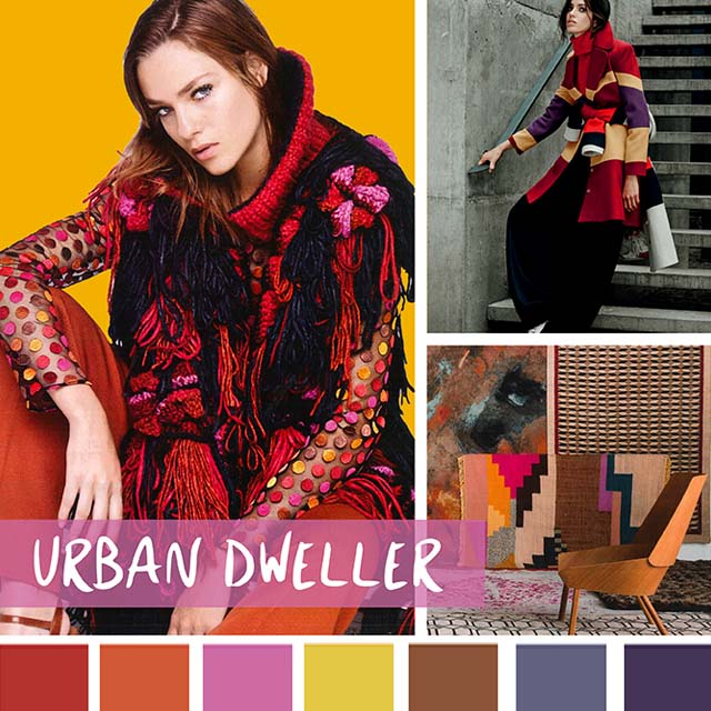 #DesignOptions FW18/19 color report on #WeConnectFashion, Women's Market Mood: Urban Dweller.