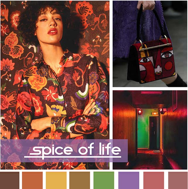 #DesignOptions FW18/19 color report on WeConnectFashion, Women's Market Mood: Spice of Life.