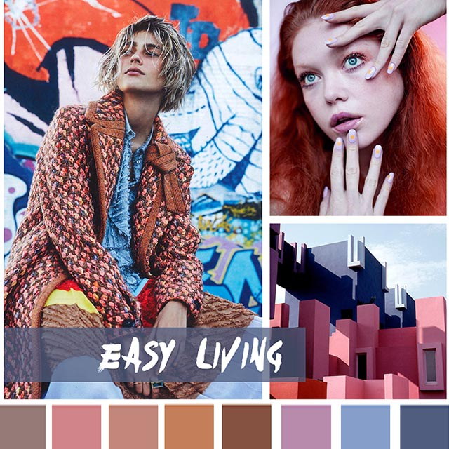 #DesignOptions FW18/19 color report on #WeConnectFashion, Contemporary Women's Mood: Easy Living.