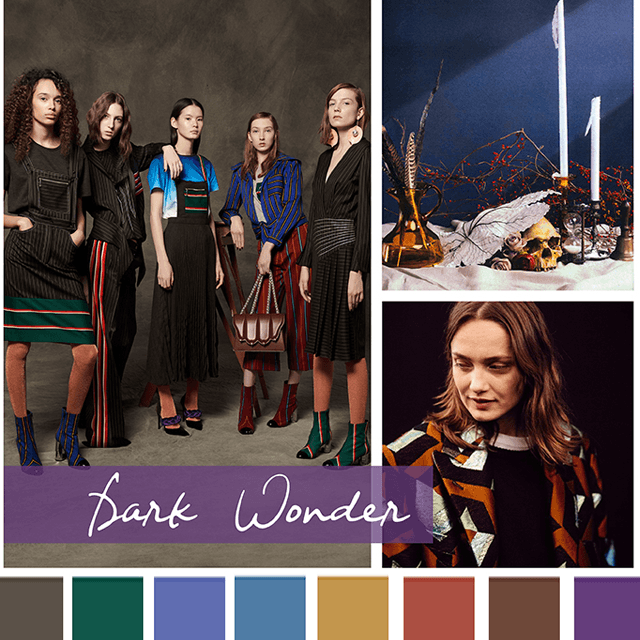 #DesignOptions FW18/19 color report on #WeConnectFashion, Contemporary Women's Mood: Dark Wonder.