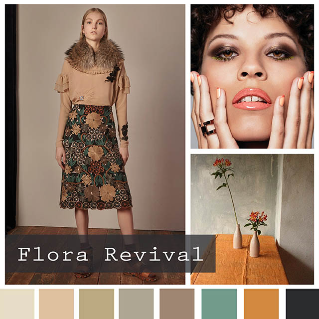 #DesignOptions FW18/19 color report on #WeConnectFashion, Contemporary Women's Mood: Flora Revival.