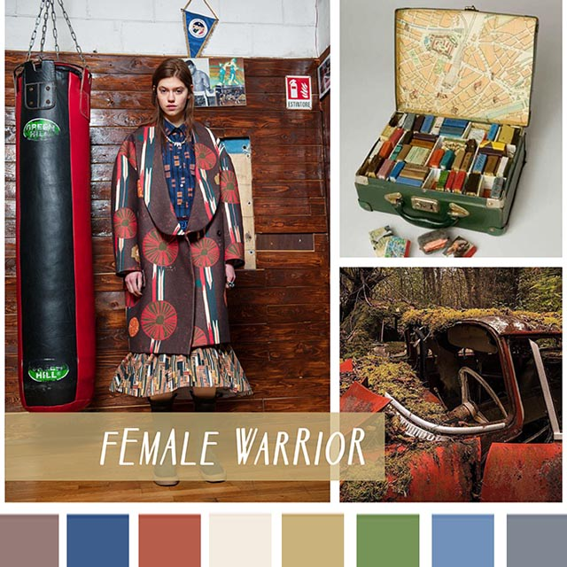 #DesignOptions FW18/19 color report on #WeConnectFashion, Contemporary Women's Mood: Female Warrior.